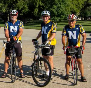 The RAGBRAI Navy Contingent from Alexandria pose for a picture