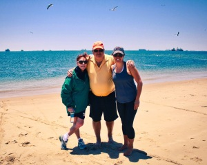 Donna, Gary & Brittany at Walvis Bay with seal colony in background